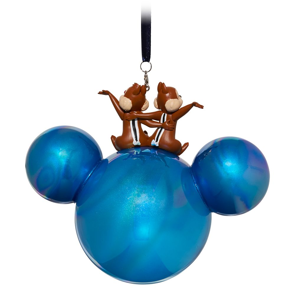 Mickey Mouse Icon Ball Ornament with Chip 'n Dale Figures – Walt Disney World 2019