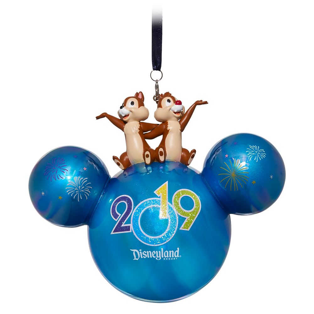 Mickey Mouse Icon Ball Ornament with Chip 'n Dale Figures – Disneyland 2019