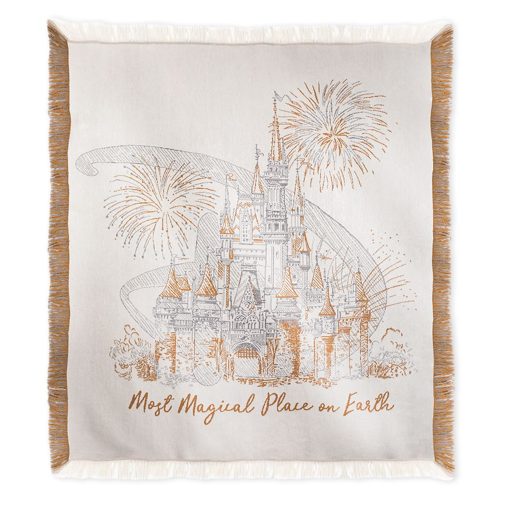 Cinderella Castle Damask Throw  Walt Disney World