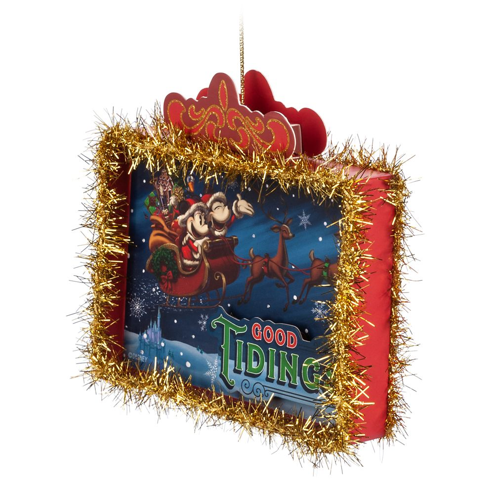 Santa Mickey and Minnie Mouse Paper Ornament