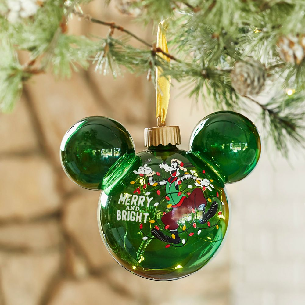 Goofy Light-Up Mickey Mouse Icon Glass Ornament
