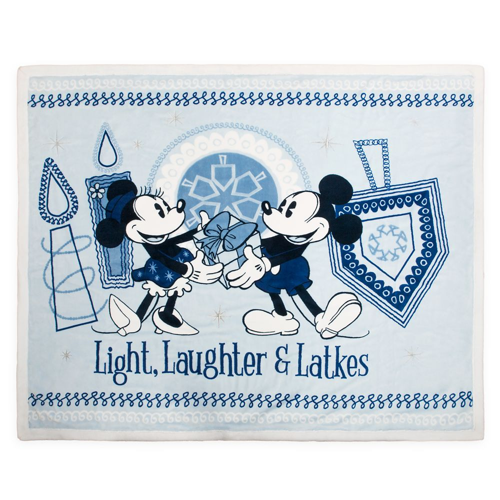 Mickey and Minnie Mouse Chanukah Fleece Throw