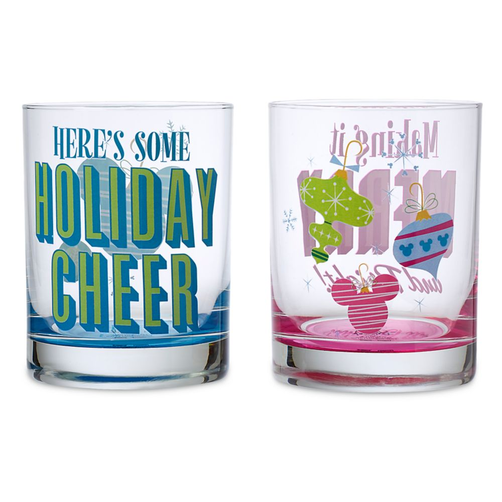 Mickey Mouse Icon Ornament Holiday Drinking Glasses Set