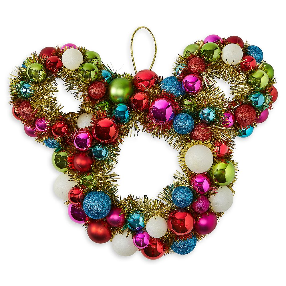Mickey Mouse Icon Tinsel and Ornament Holiday Wreath
