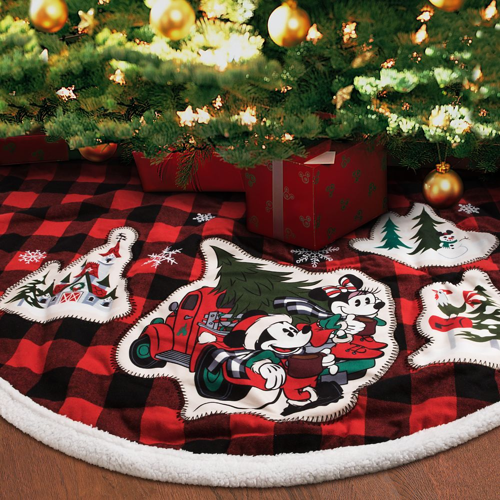 Mickey and Minnie Mouse Plaid Holiday Tree Skirt