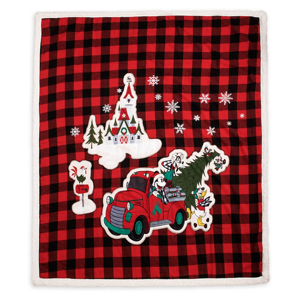 Mickey Mouse and Friends Plaid Holiday Fleece Throw