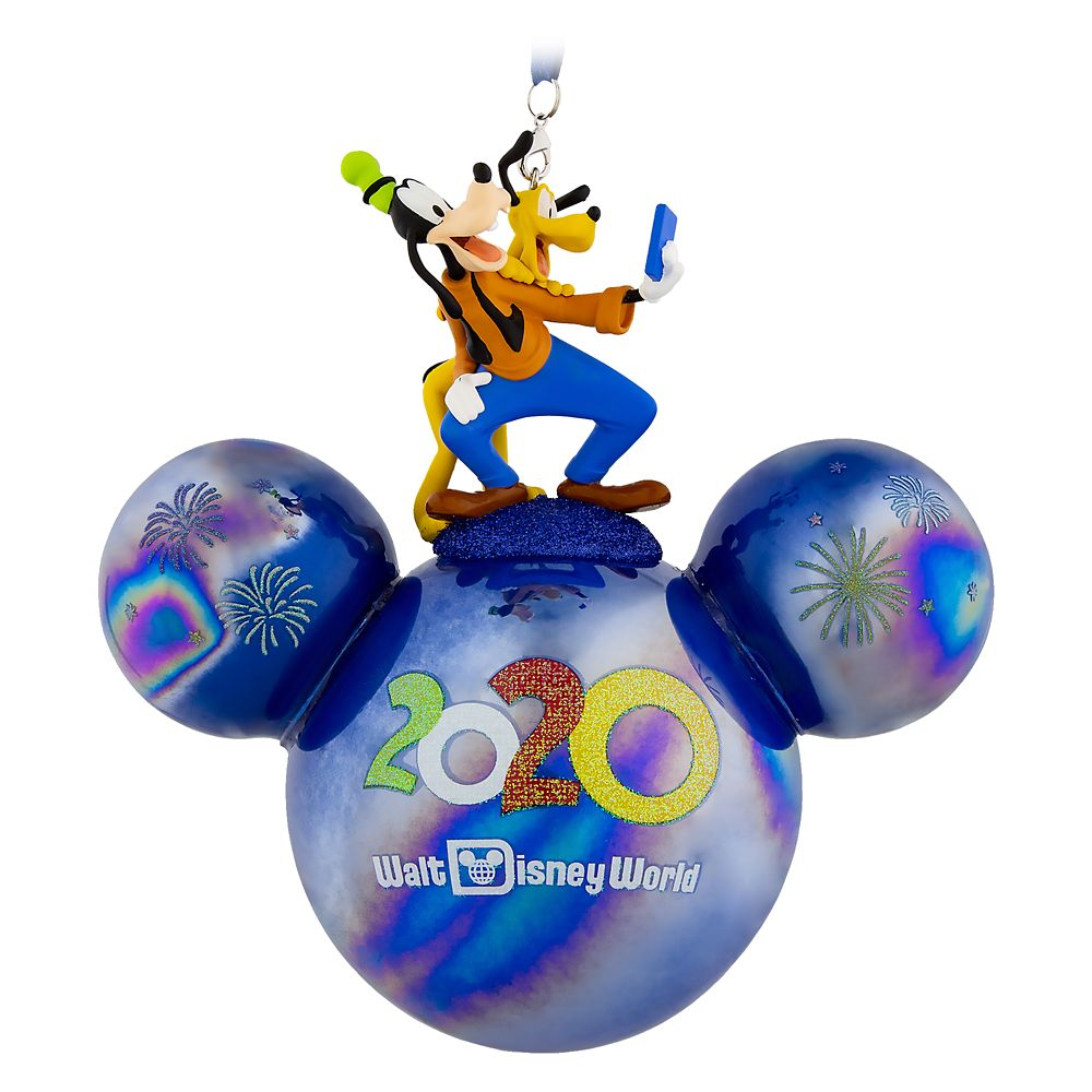Mickey Mouse Icon Ball Ornament with Goofy and Pluto Figures – Walt Disney World 2020
