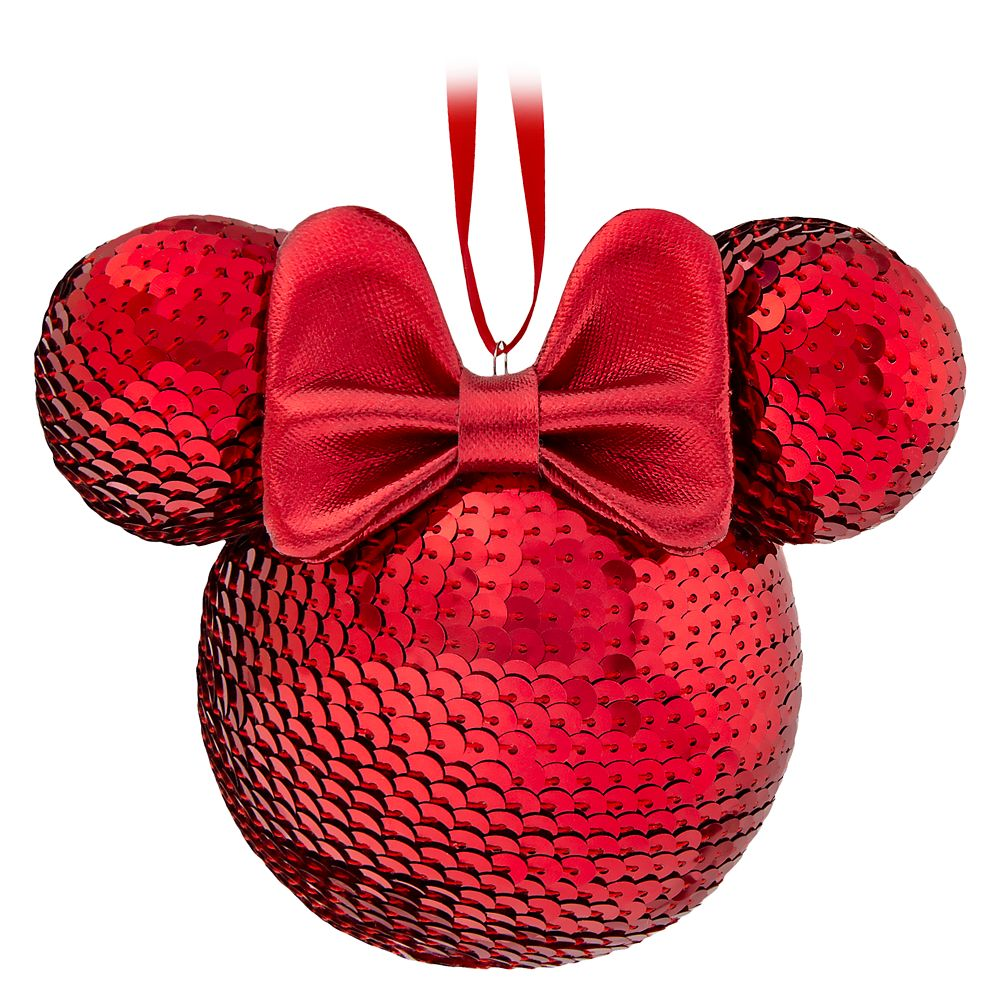 Minnie Mouse Icon Sequined Ornament – Red