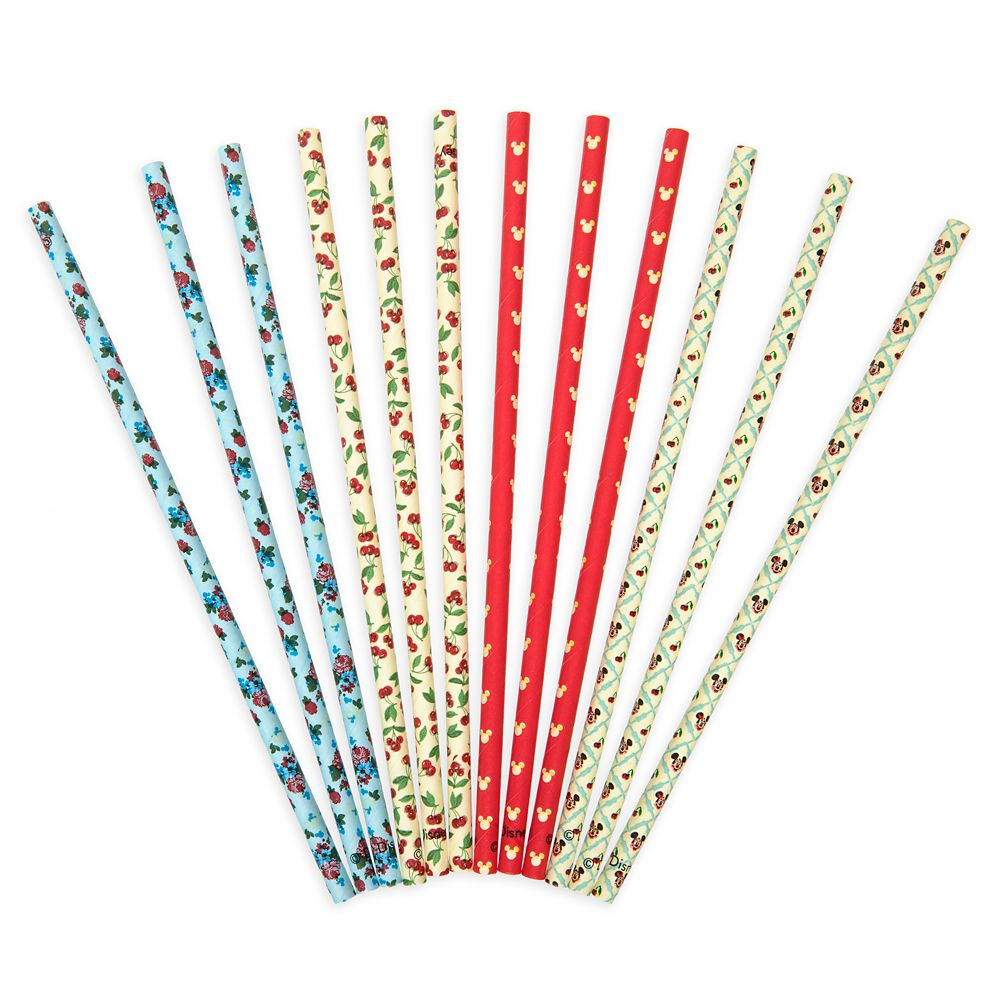 Mickey and Minnie Mouse Retro Paper Straw Set