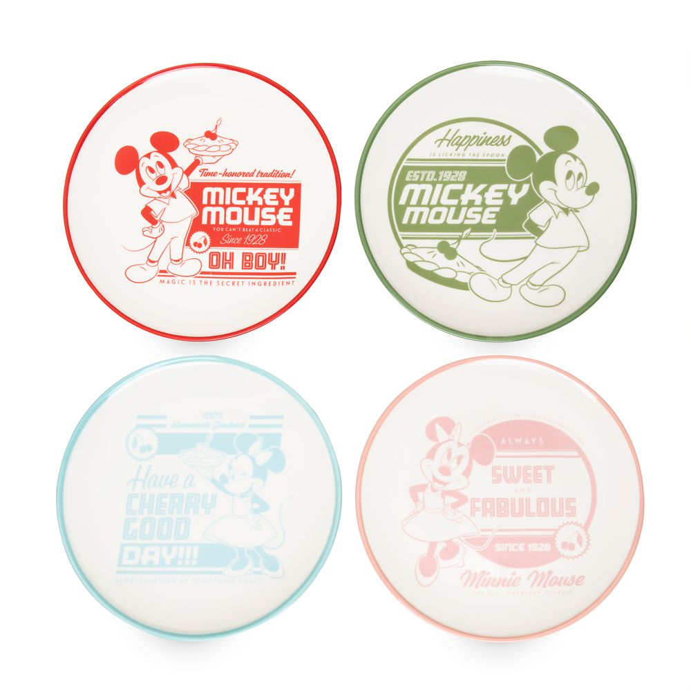 Mickey and Minnie Mouse Retro Cake Plate Set