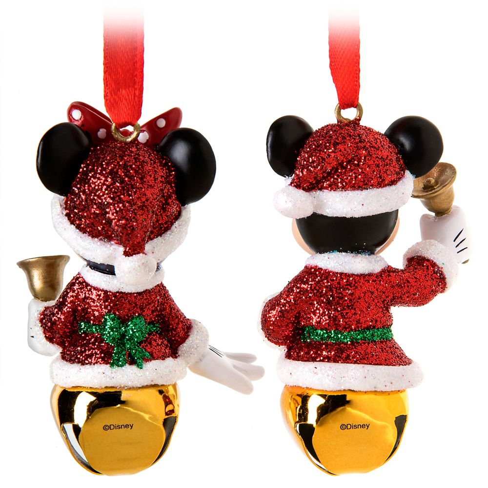 Santa Mickey and Minnie Mouse Bell Ornament Set