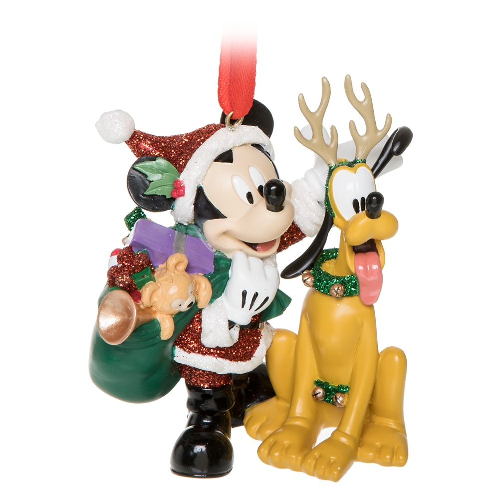 Santa Mickey Mouse and Reindeer Pluto Figural Ornament