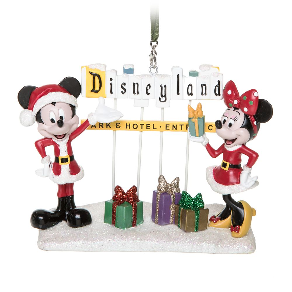 Santa Mickey and Minnie Mouse with Disneyland Marquee Figural Ornament
