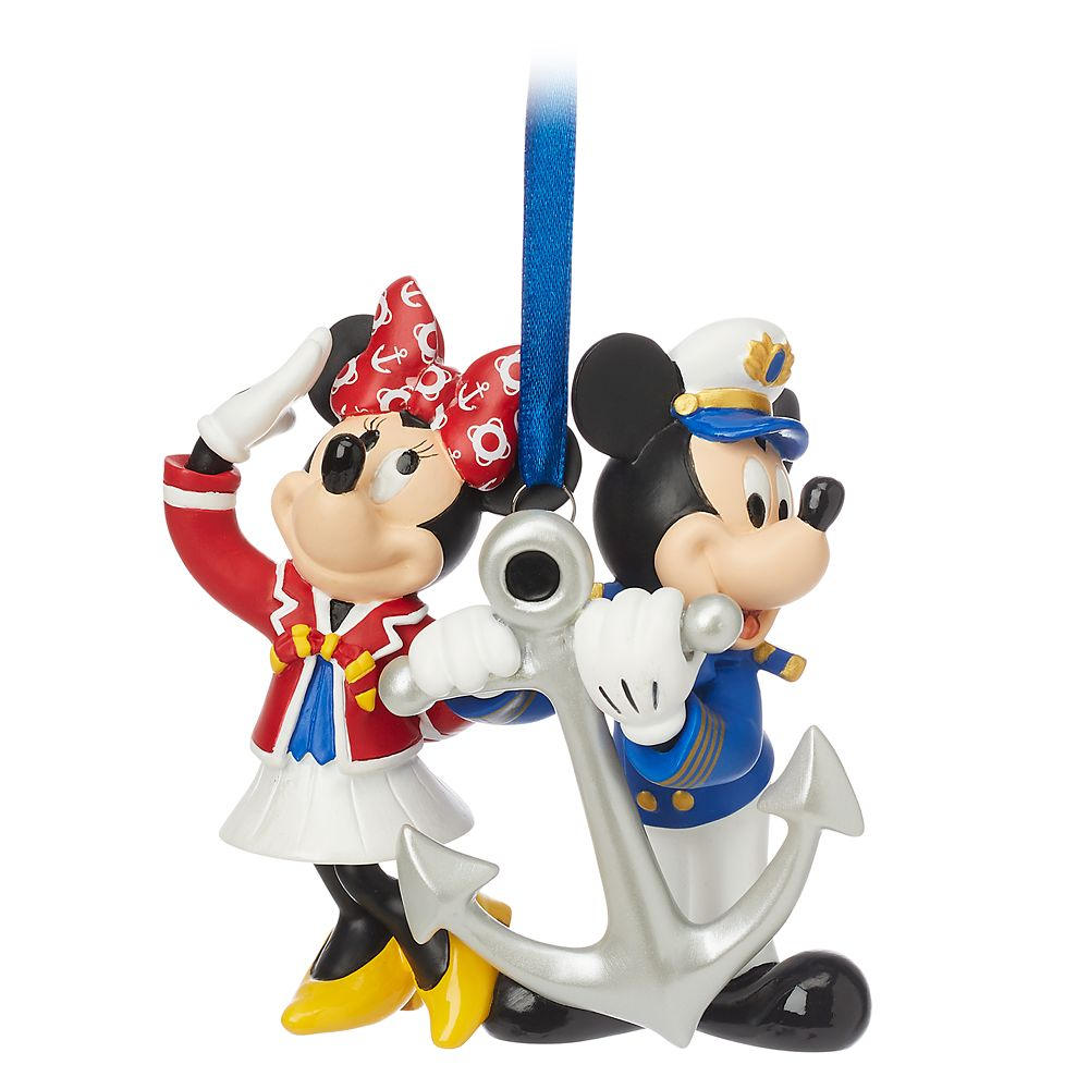 Captain Mickey and Minnie Mouse Figural Ornament  Disney Cruise Line