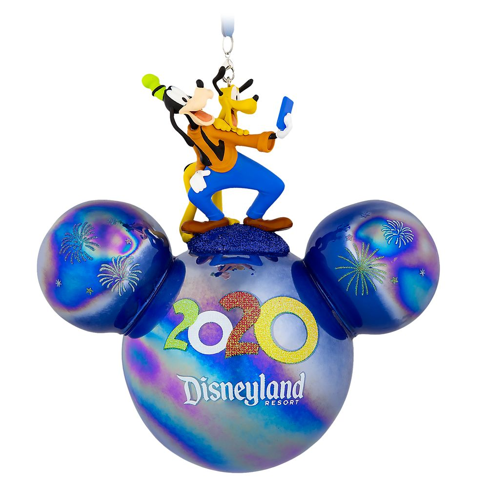 Mickey Mouse Icon Ball Ornament with Goofy and Pluto Figures – Disneyland 2020