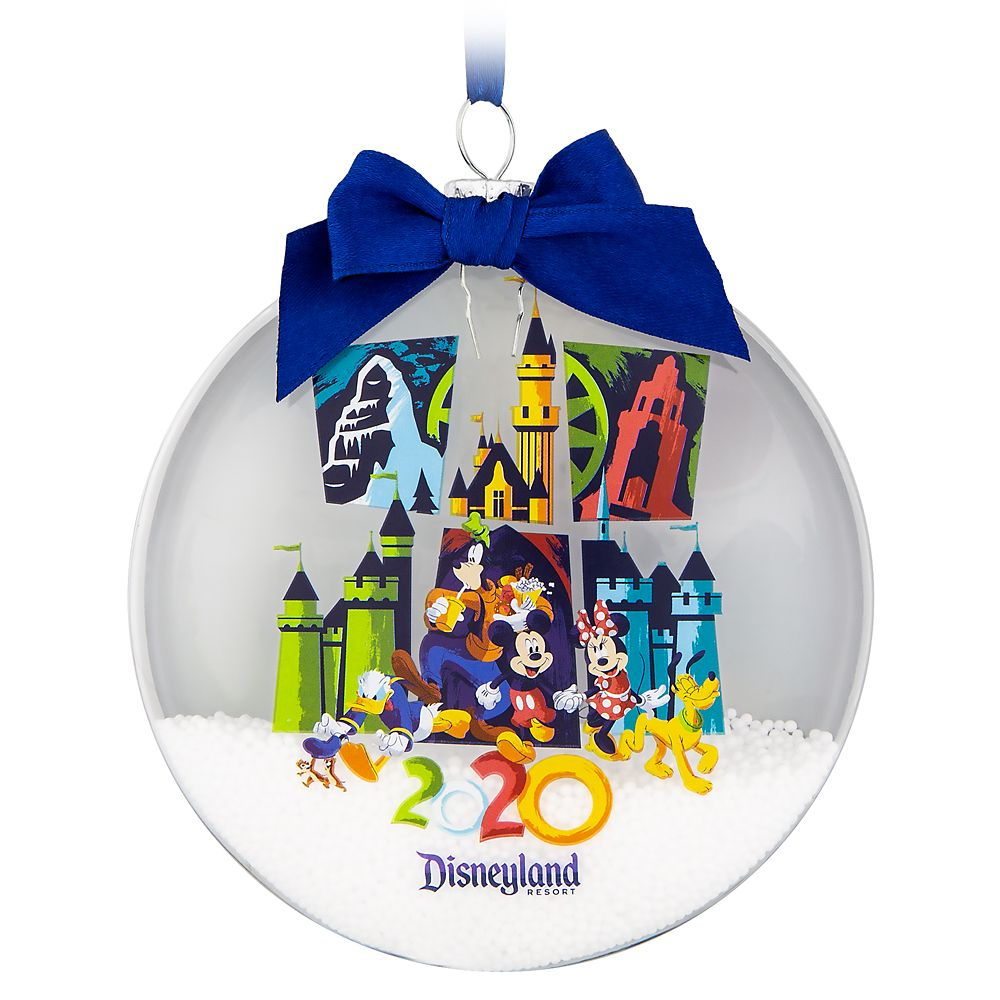 Mickey Mouse and Friends Glass Disk Snowglobe Ornament – Disneyland 2020