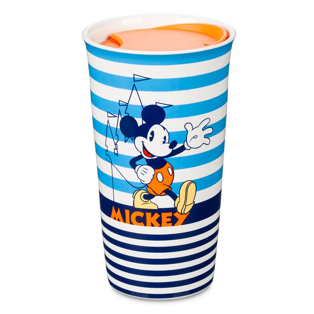 Mickey Mouse Striped Ceramic Travel Mug