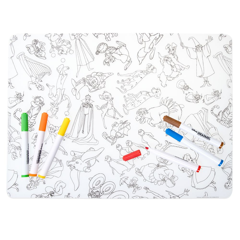 Disney Ink & Paint Silicone Coloring Placemat with Markers
