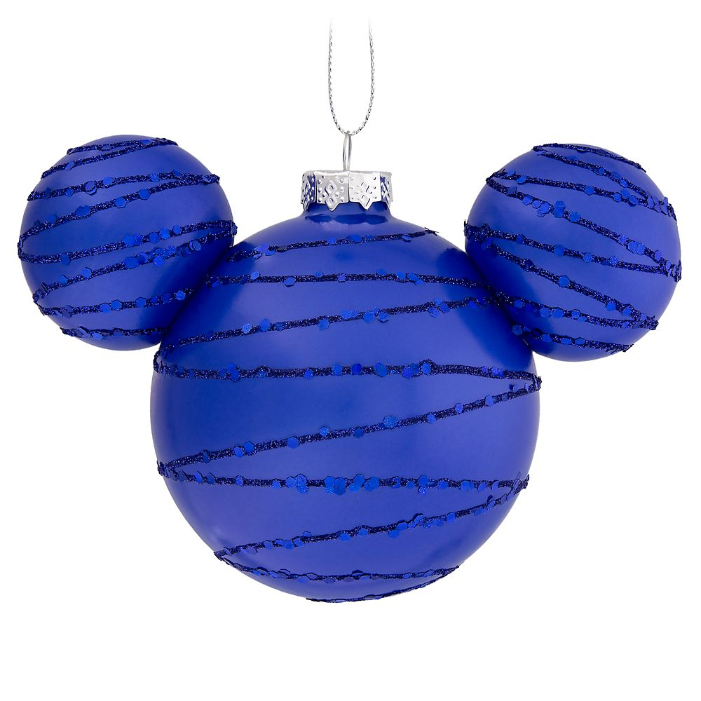Mickey Mouse Icon Glass Ornament – Cobalt