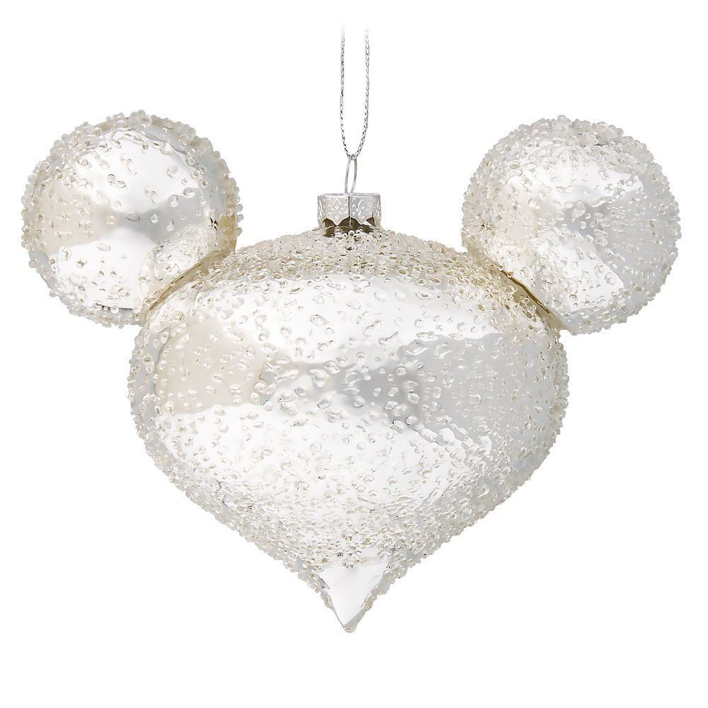 Mickey Mouse Icon Glass Ornament – Silver Ice