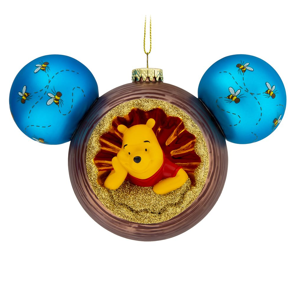 Mickey Mouse Icon Glass Ornament with Winnie the Pooh and Owl