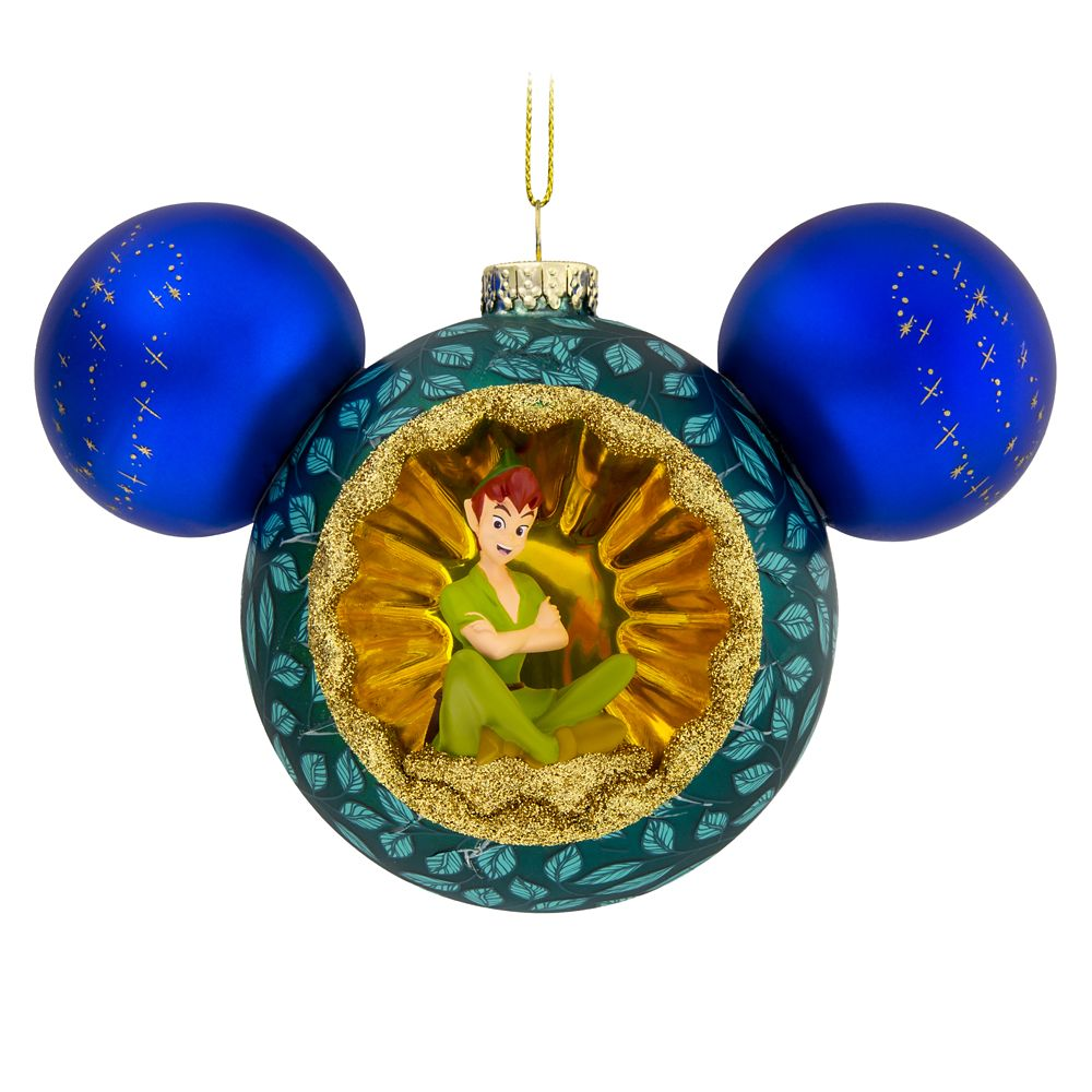 Mickey Mouse Icon Glass Ornament with Tinker Bell and Peter Pan
