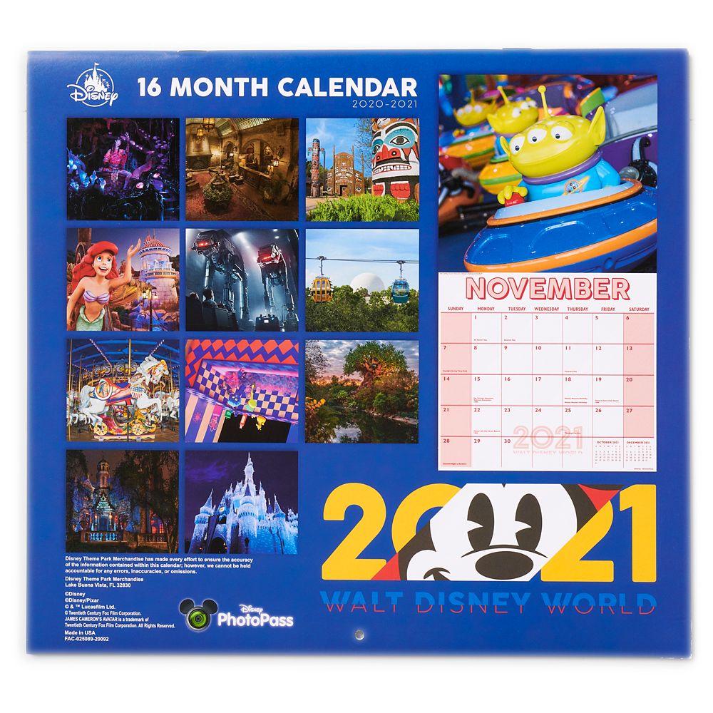 Walt Disney World 16 Month Calendar 2020-2021