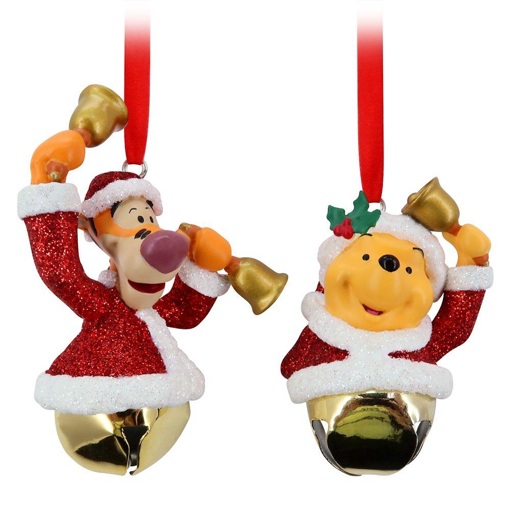 Santa Winnie the Pooh and Tigger Bell Ornament Set