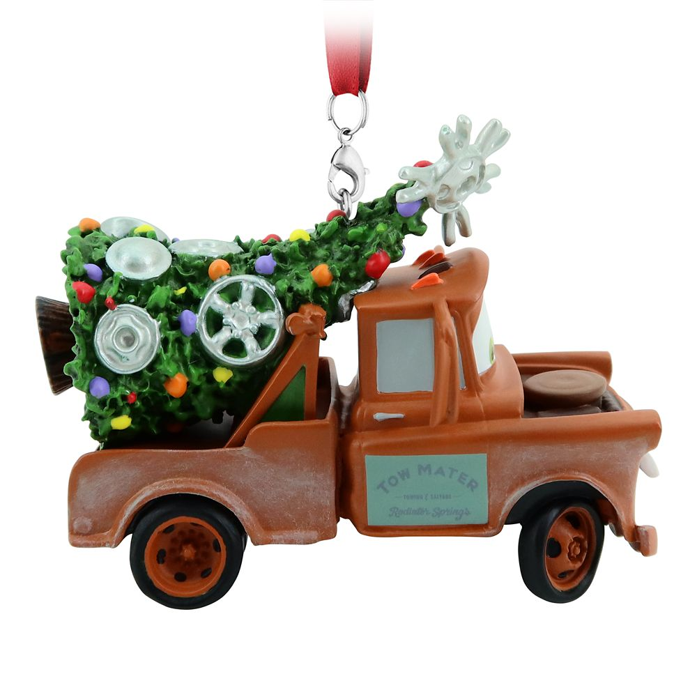 disney parks christmas cars tow mater with santa hat ornament new with tag