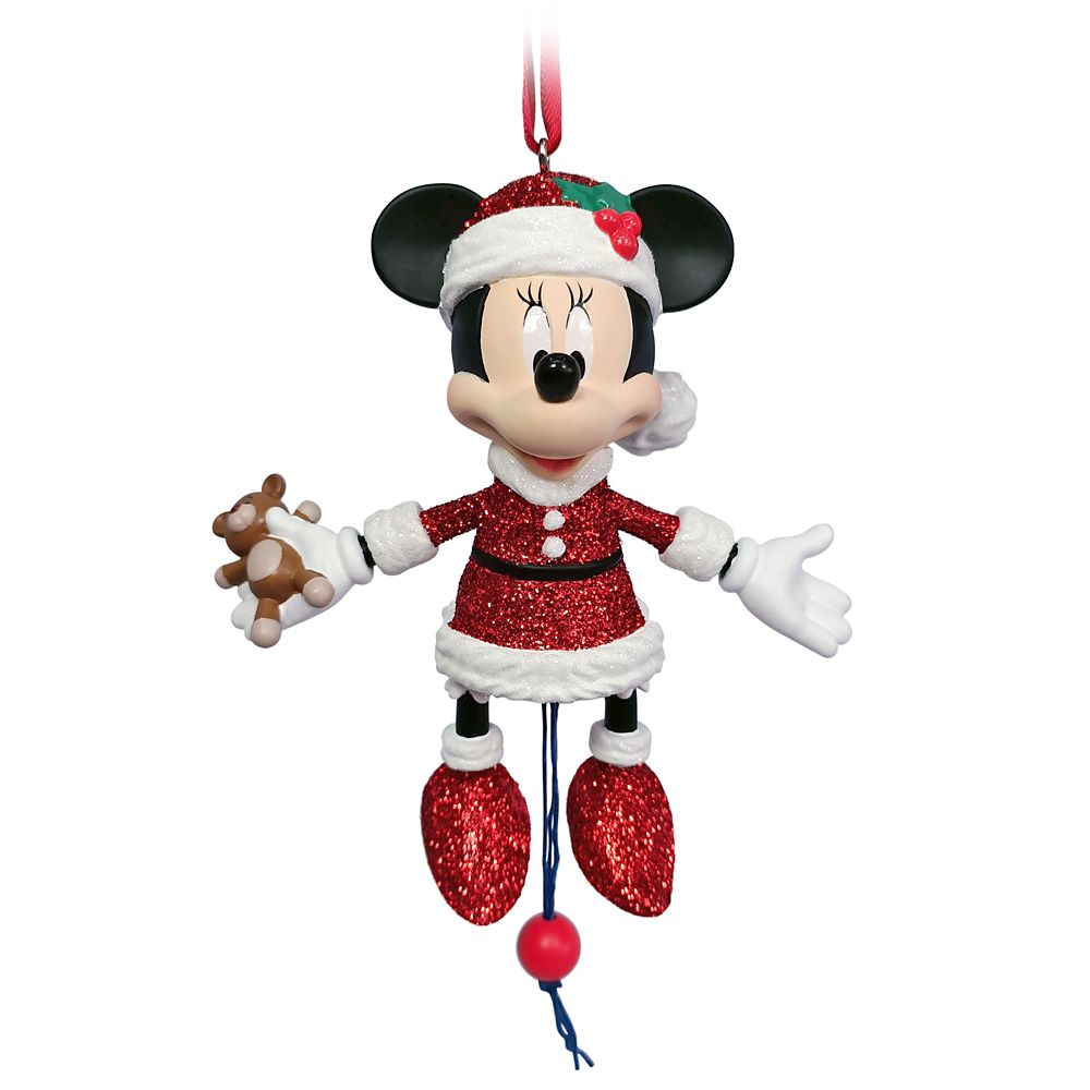Santa Minnie Mouse Articulated Figural Ornament