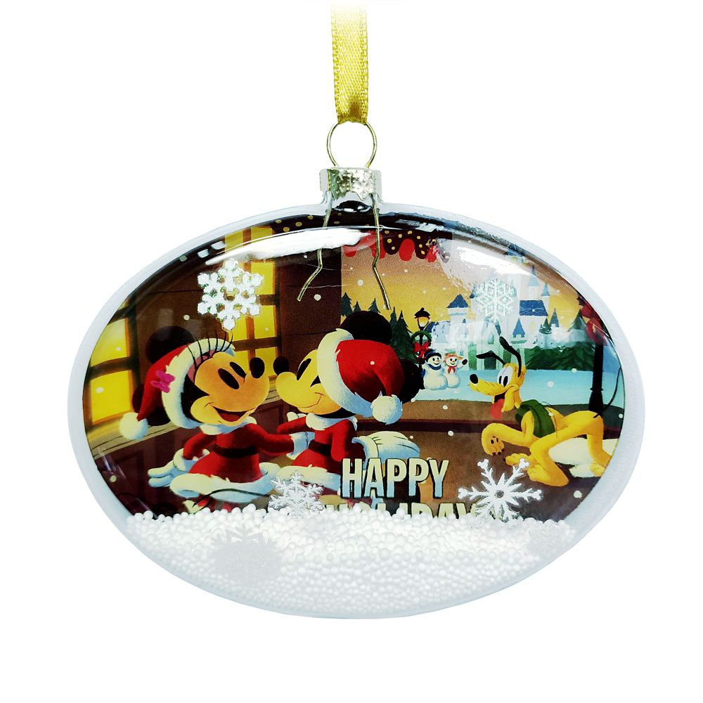 Santa Mickey Mouse and Friends Glass Oval Ornament