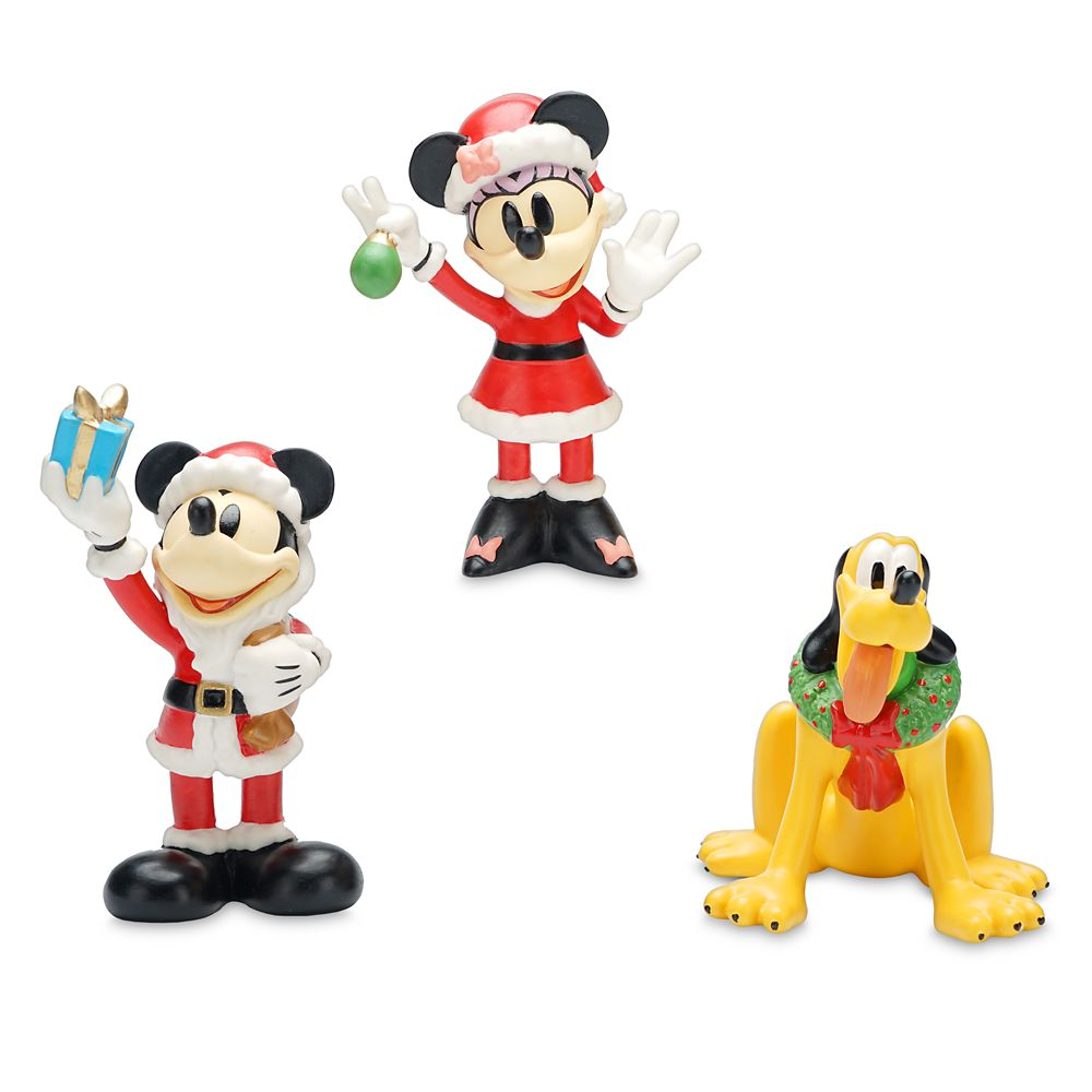 Santa Mickey Mouse and Friends Porcelain Figurine Set