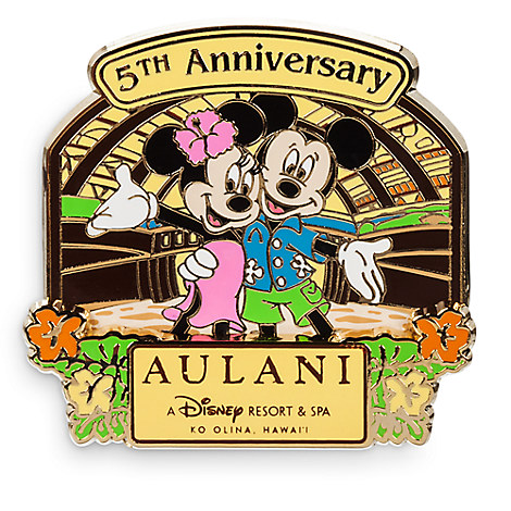 Mickey and Minnie Mouse Aulani, A Disney Resort & Spa Pin - 5th Anniversary - Limited Edition