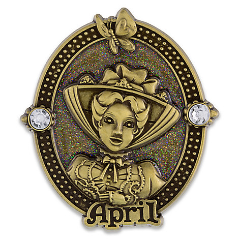 Mary Poppins Cameo Birthstone Pin -- April