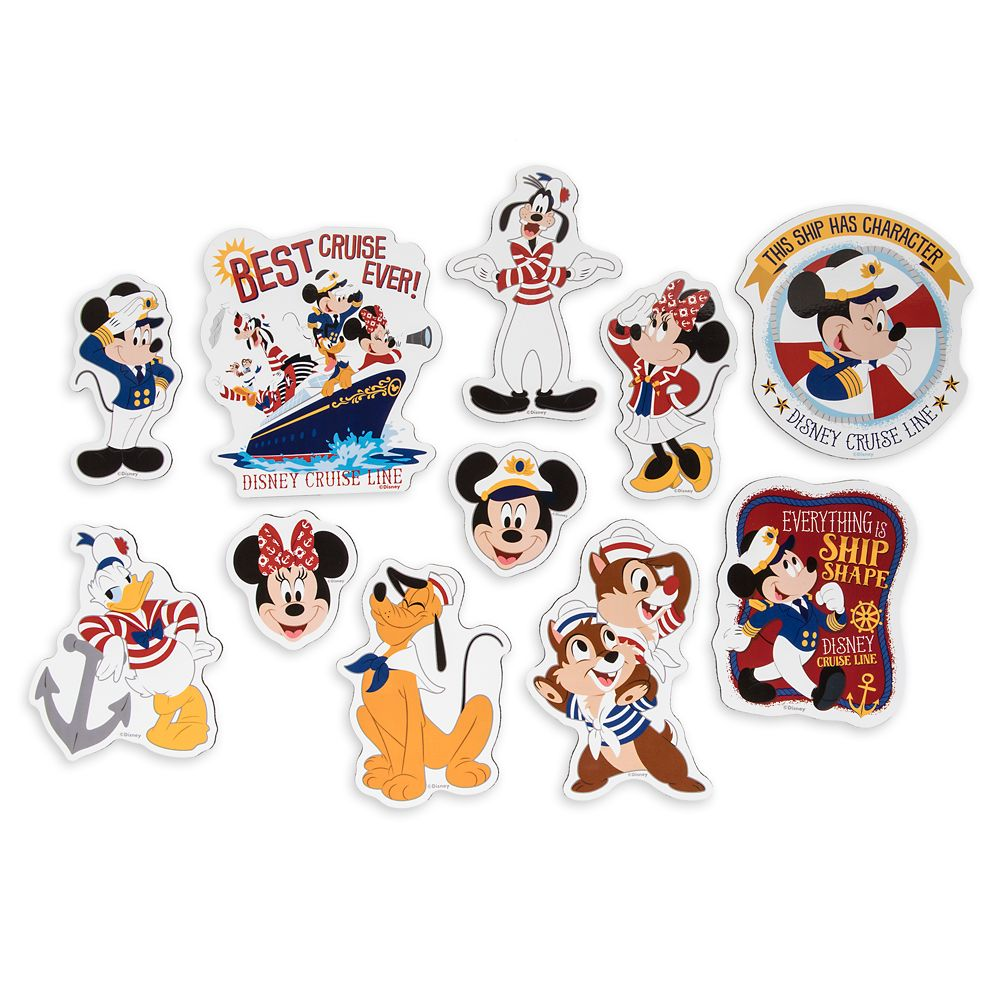 Captain Mickey Mouse and Crew Stateroom Door Magnet Set Disney Cruise Line