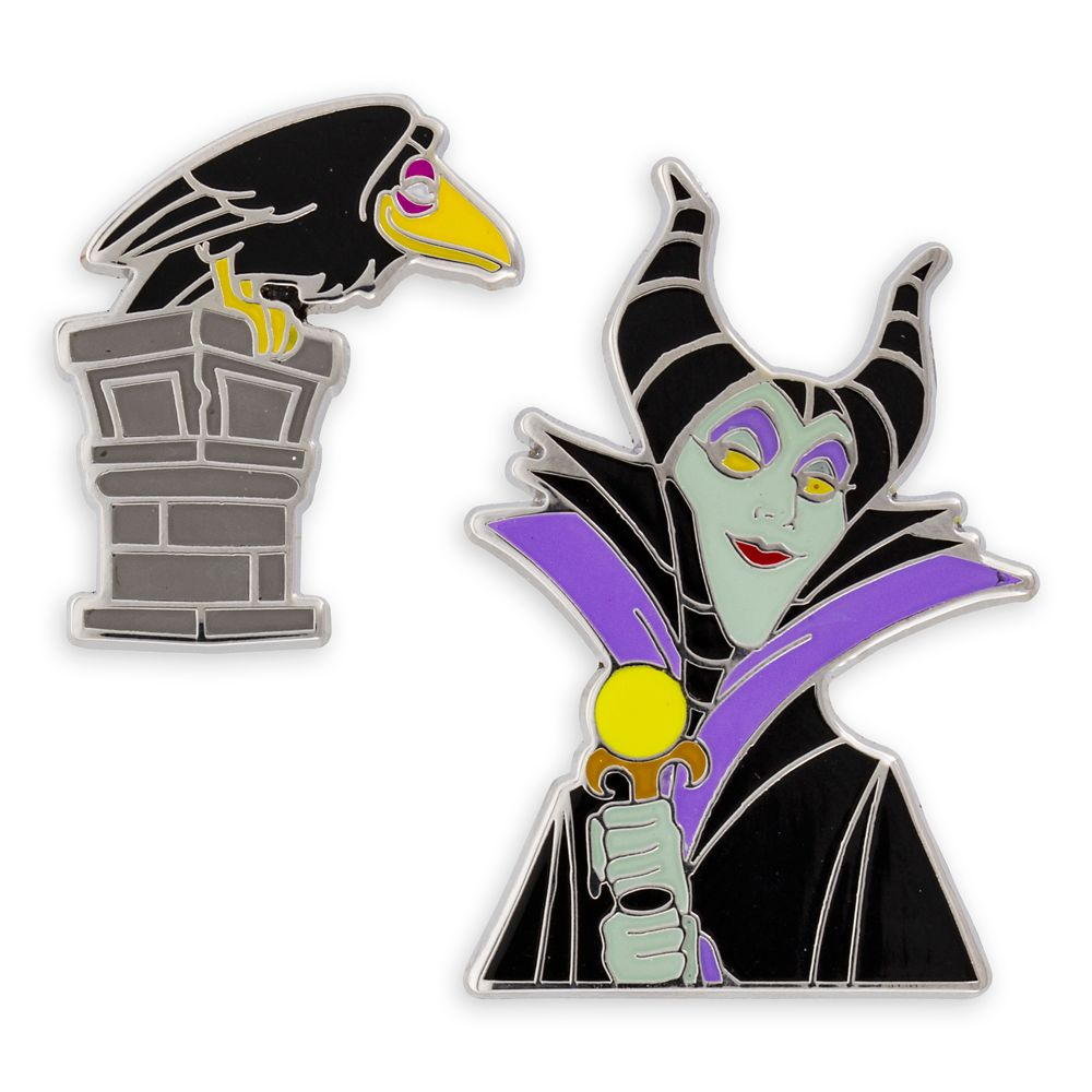 Maleficent and Raven Pin Set – Sleeping Beauty – Disney Villains