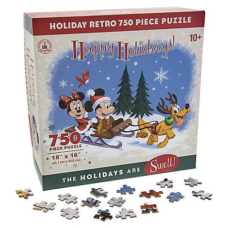 Santa Mickey Mouse and Friends Happy Holidays Retro Jigsaw Puzzle