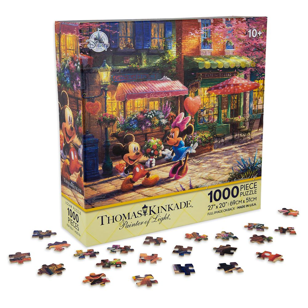 Mickey and Minnie Mouse Sweetheart Cafe Puzzle by Thomas Kinkade