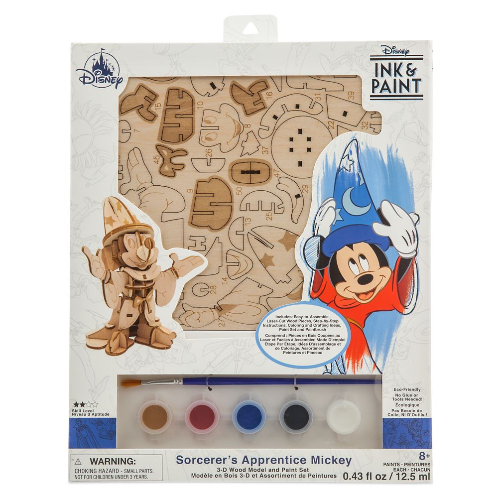 Sorcerer Mickey Mouse 3D Wood Model and Paint Set – Disney Ink & Paint