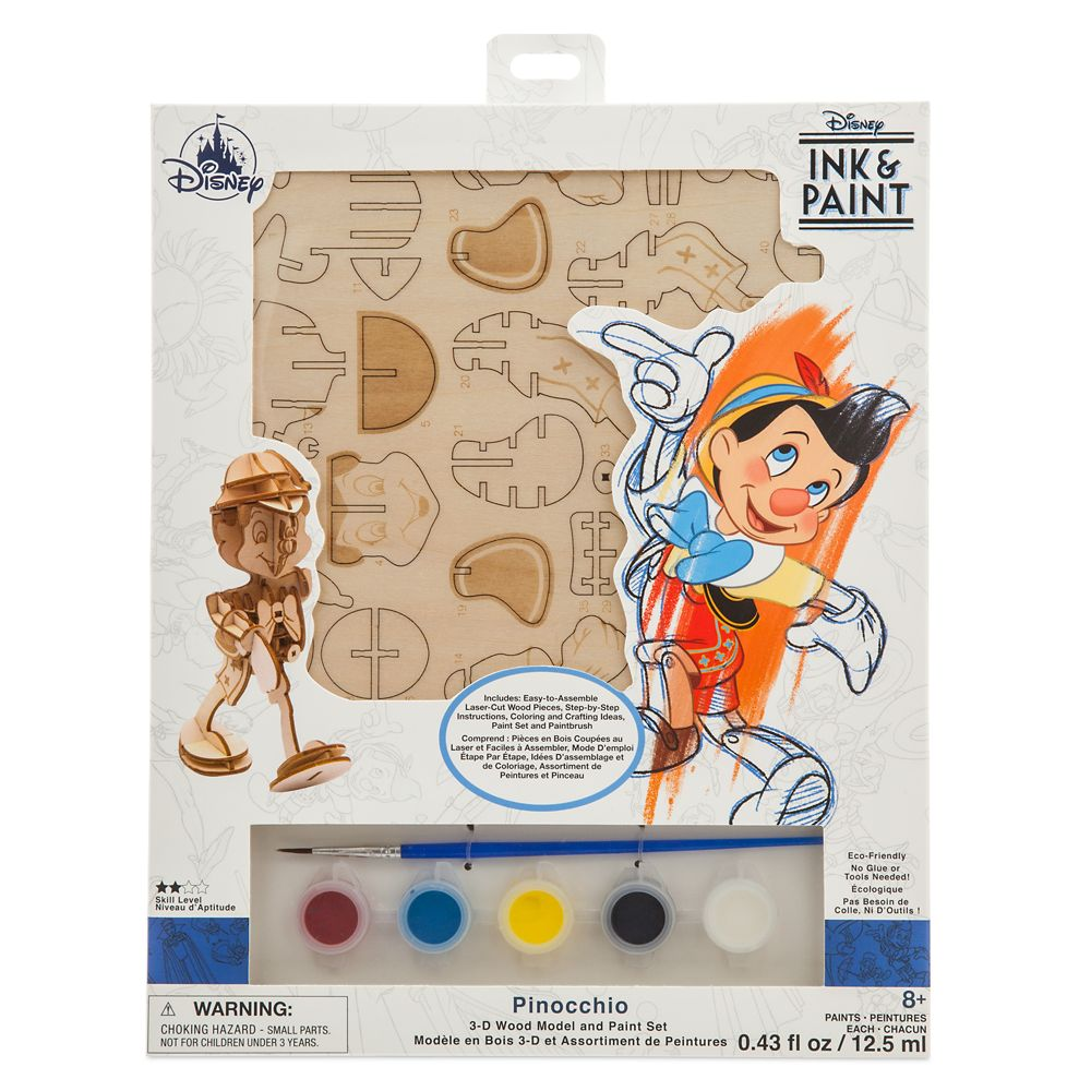 Pinocchio 3D Wood Model and Paint Set – Disney Ink & Paint