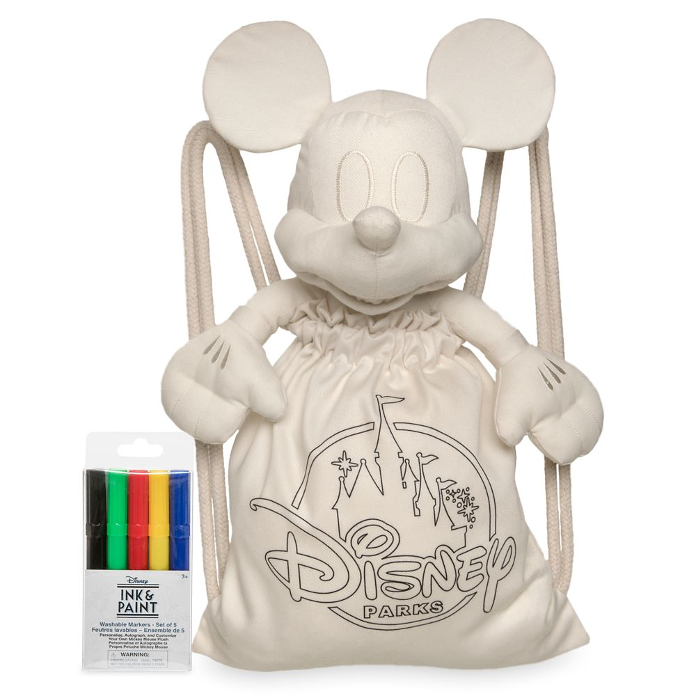 Mickey Mouse Colorable Plush and Tote with Marker Set – Disney Ink & Paint