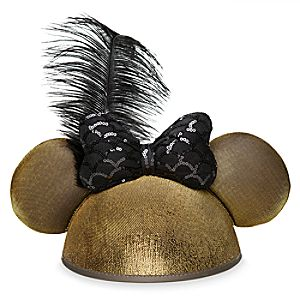 Minnie Mouse Golden Ear Hat with Sequined Bow for Adults