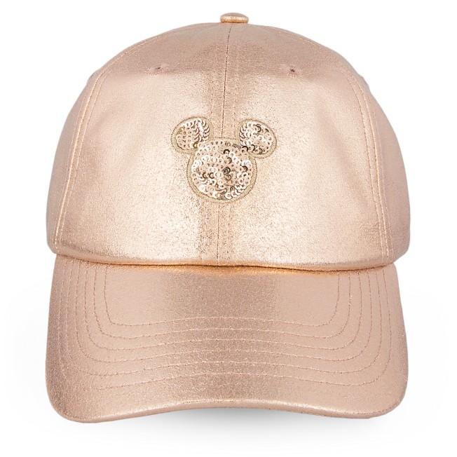 Mickey Mouse Rose Gold Baseball Cap for Women