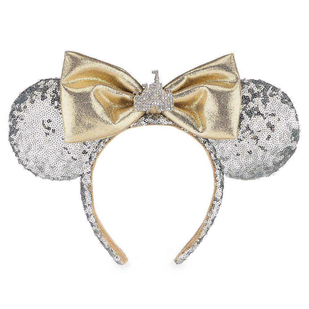 Minnie Mouse Sleeping Beauty Castle Ear Headband – Silver Sequins – Disneyland