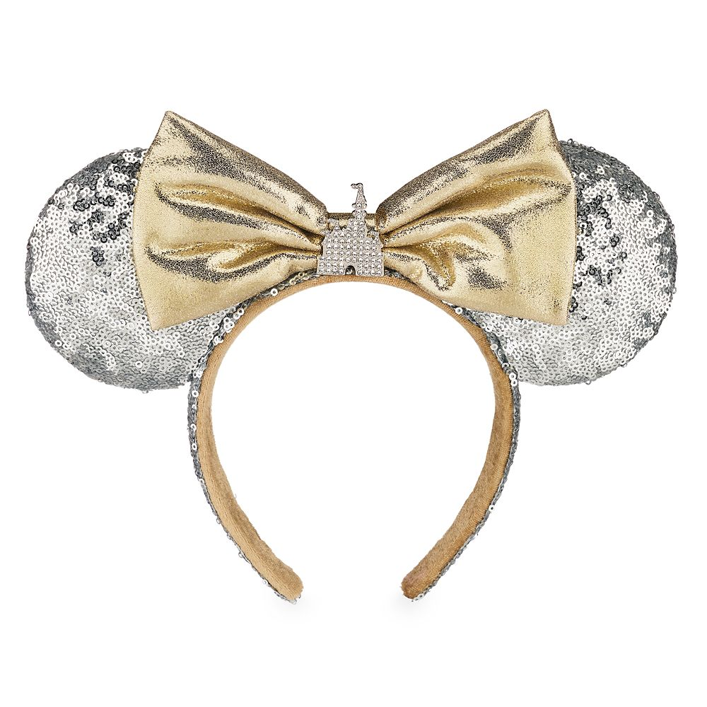 Minnie Mouse Cinderella Castle Ear Headband Silver Sequins Walt Disney World