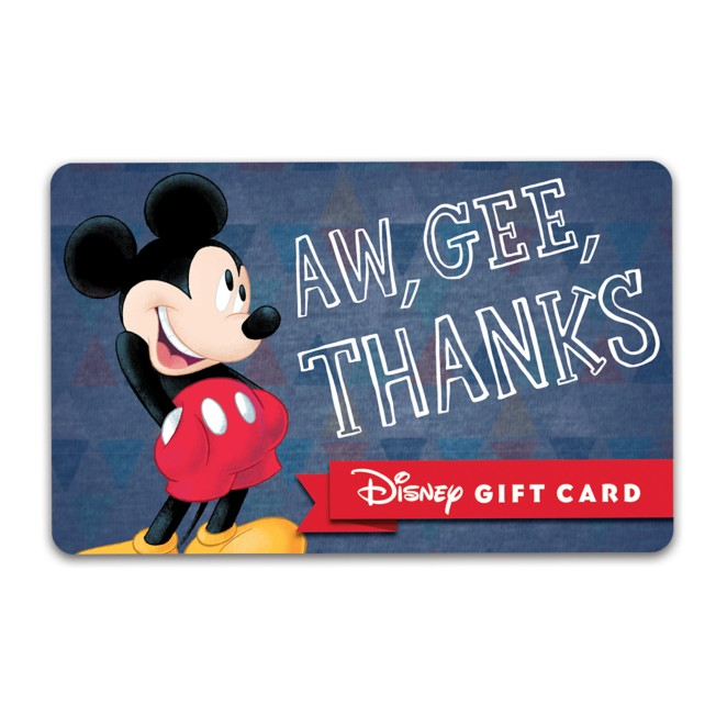 Mickey Mouse ''Aw, Gee, Thanks'' Disney Gift Card