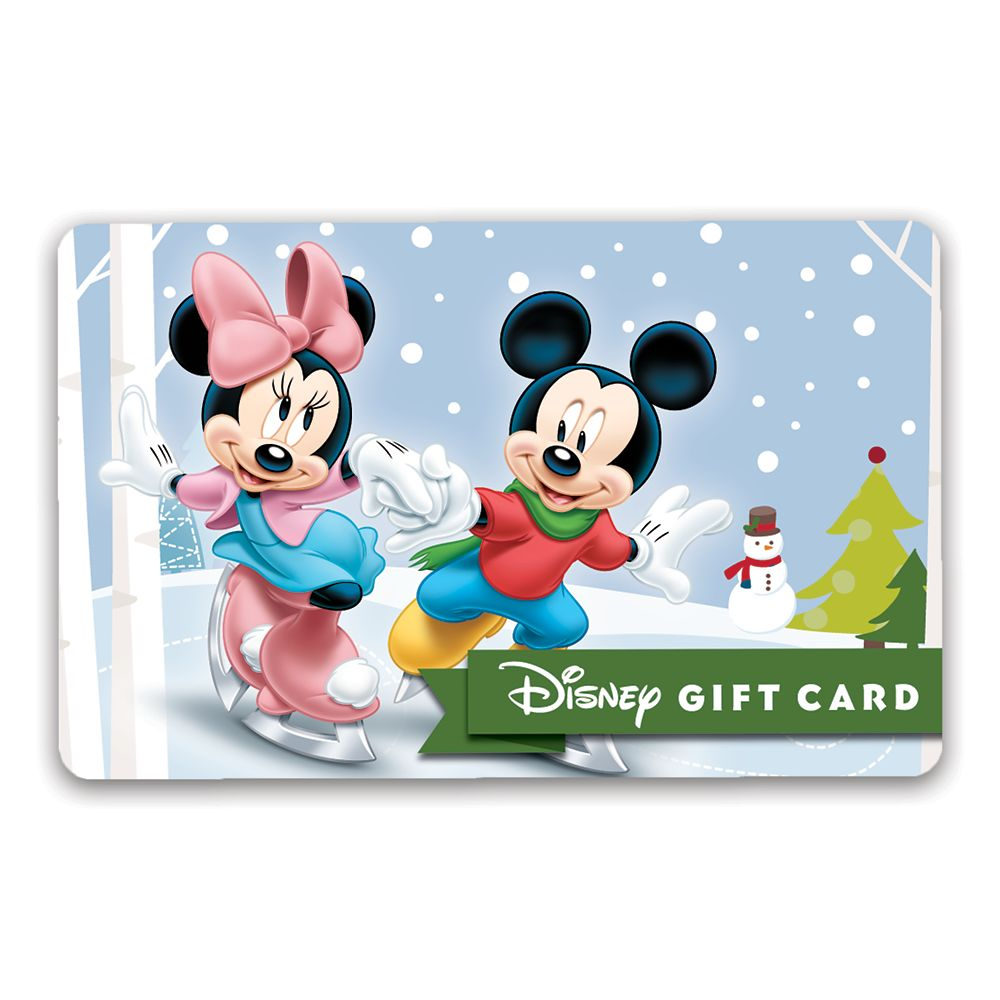 Mickey and Minnie Mouse Winter Skating Disney Gift Card