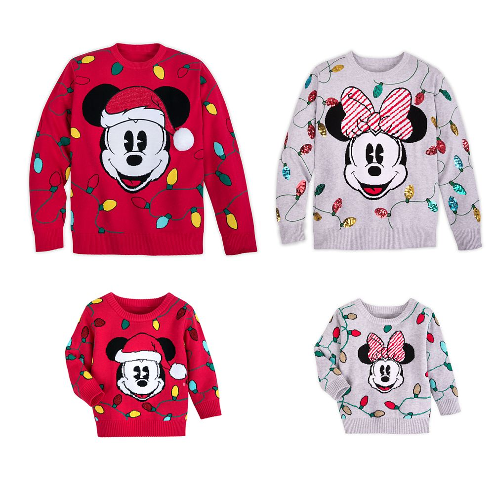 Mickey and Minnie Mouse Holiday Family Sweater Collection