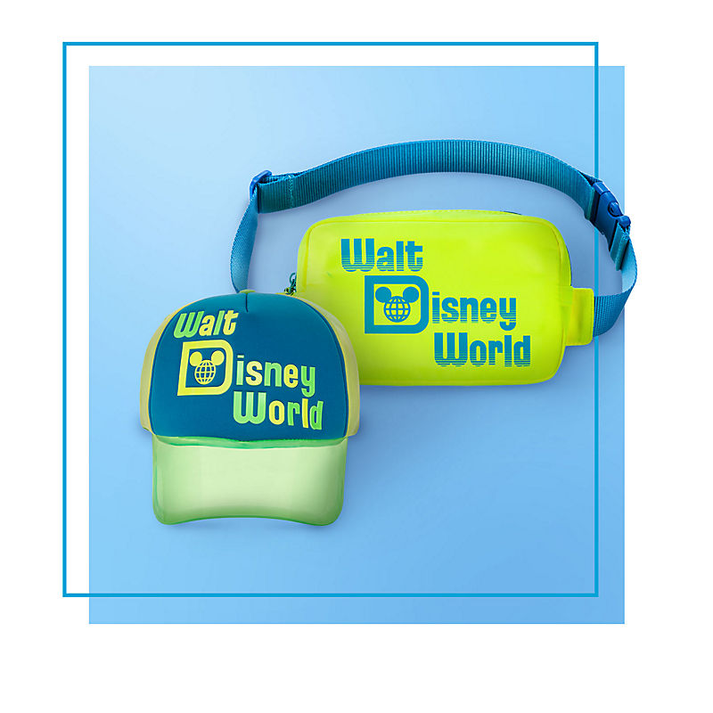 Neon Walt Disney World cap and waist pack