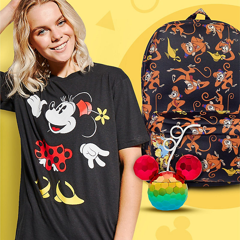 Woman in Minnie Mouse t-shirt Rainbow Mickey Mouse cup with straw Abu print backpack